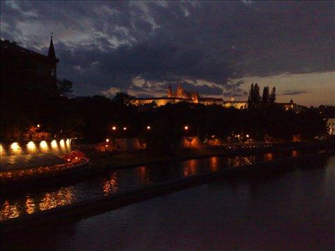 prague at dark over the river