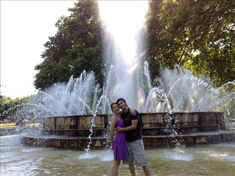 Me and Jess in front of the musical fountain at Margarit Island