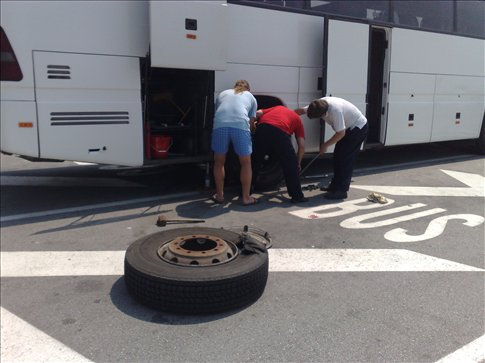 flat bus tire on the way to Croatia
