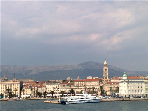 split, croatia harbor view from ferry