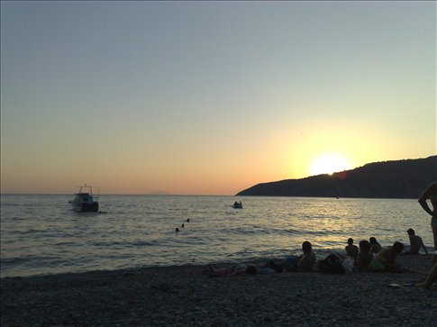 sunset from the beach below our camping spot on the island of Vis, Croaita-WOW!