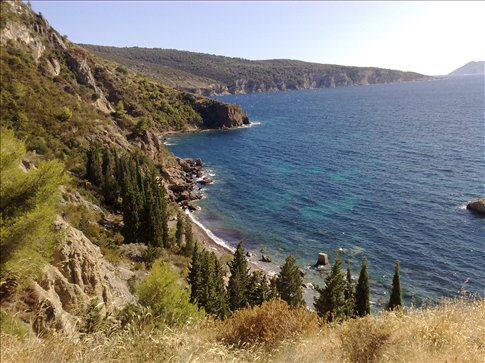 Another view above the nudist beach, Vis, Croatia