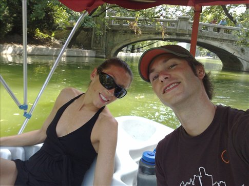 Jess and I messing around in a paddle boat in Bucharest near our flat.