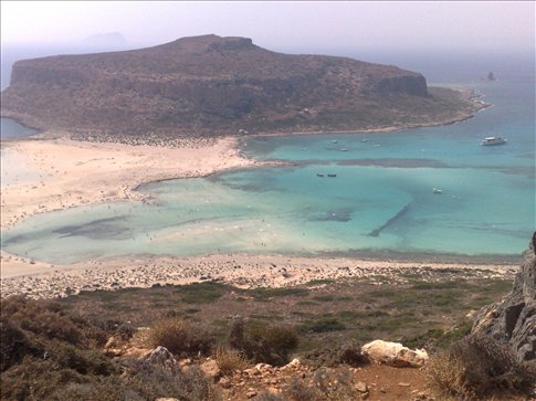 View walking down to Balos Bay, Crete.