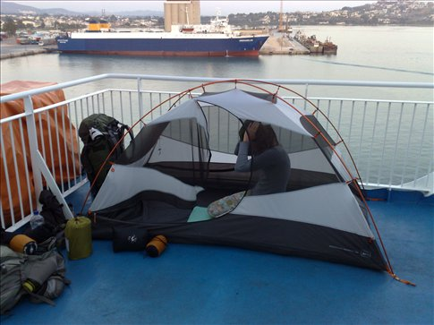Our tent pitched on the deck of the ferry to Crete.