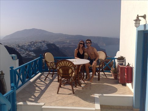 out the door of our cave room on Santorini