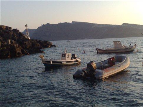 view of ahmuddy harbor, santorini