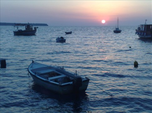 sunset at ahmoody, santorini