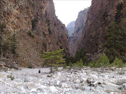 hiking down middle of samaria gorge, crete.