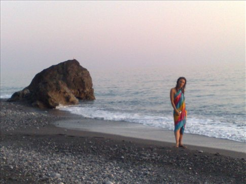 Jessica in front of our campsite at Pavlos beach after a nudy swim!