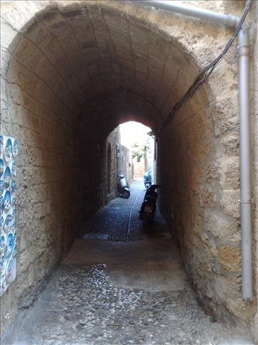 alley on the island of Rhodes, Greece.