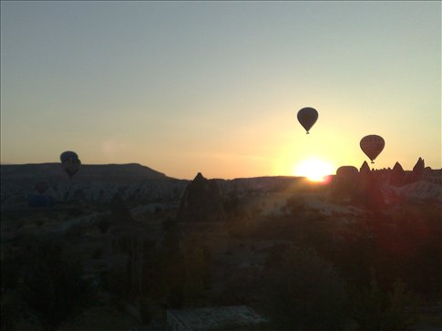 sunrise with balloon launch, Goreme