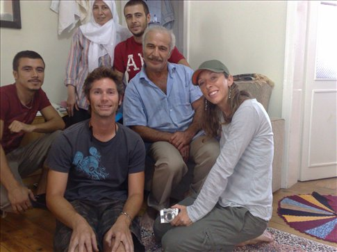 The Aydin family after lunch in their home.