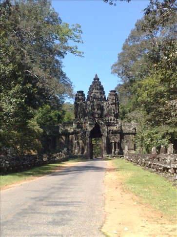 of the entrance gates to Angkor Thom