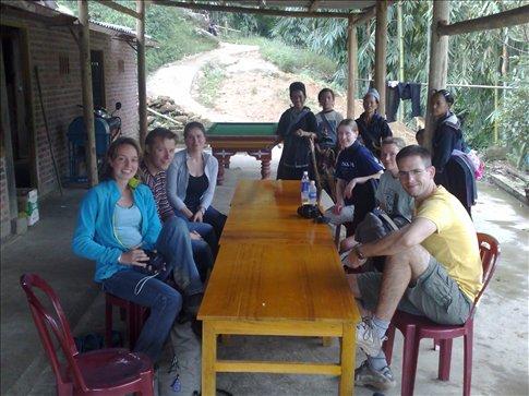 the trekking group-(left to right)dutch, dutch, german, random village women, fin, fin and german,