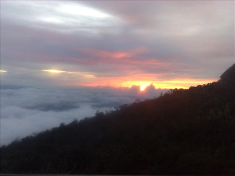 sunset at Labah Rata lodge, our first night of the climb-getting better!