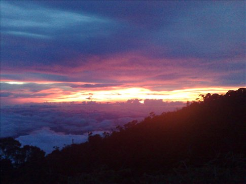sunset at Labah Rata lodge, our first night of the climb-WOW