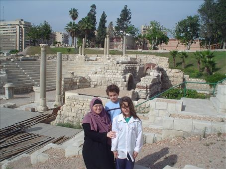 Nikki, Ishmael, and Randa at the Roman ruins in Alexandria