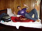 The cabin on board the junk in Halong Bay.  Tony is surprised that he fits the length of the bed!: by hutch07, Views[222]