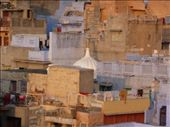 Washing hangs to dry on rooftop terraces nestled under Meherangarh Fort, Jodhpur.: by indian-moments, Views[260]