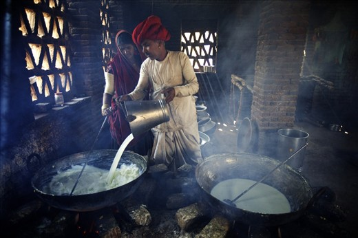This Rabari couple earns their livelihood by making cheese from goat milk