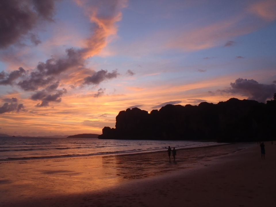 Railay, Thailand. The sun leaves its last brushstrokes of light on the day.