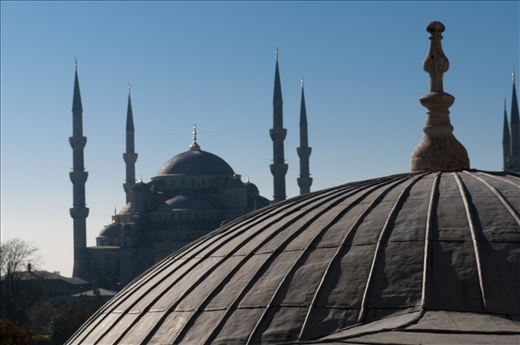 A view of  the Blue Mosque from the first floor of Agia Sophia in Istanbul
