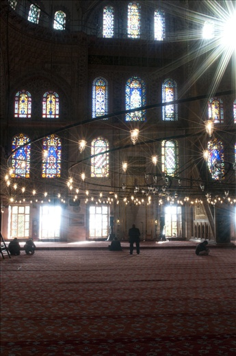 Inside the Blue Mosque praying to Allah