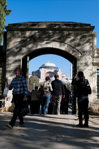 A view of Agia Sophia from the yard of the Blue Mosque in Istanbul