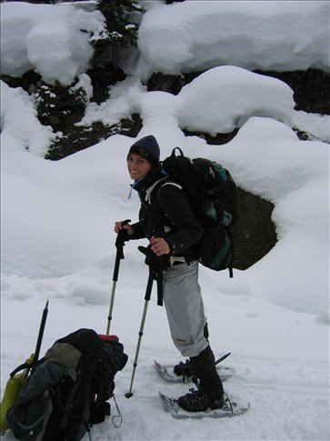 snowshoeing to the yurt!