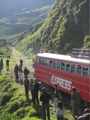 The famous Autoferro train that navigates Nariz del Diablo (Devil's Nose)