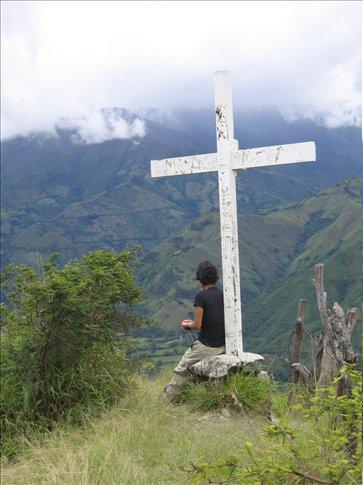 Hiking to Mandango Rocks - Miral at the first cross