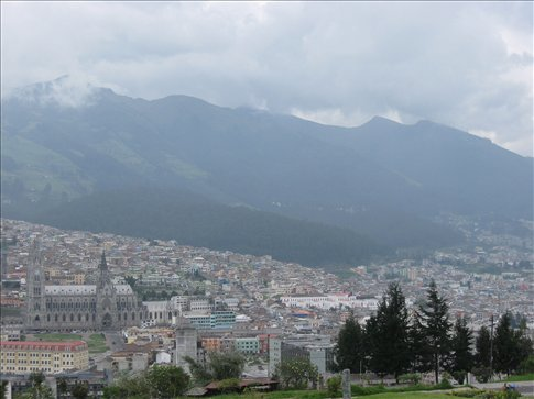 Quito and the volcanoes it is nestled in