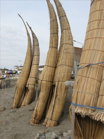 The famous fishing boats used for centuries at Huanchaco Beach