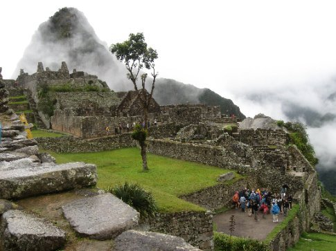 Machu Picchu comes into view as clouds burn off
