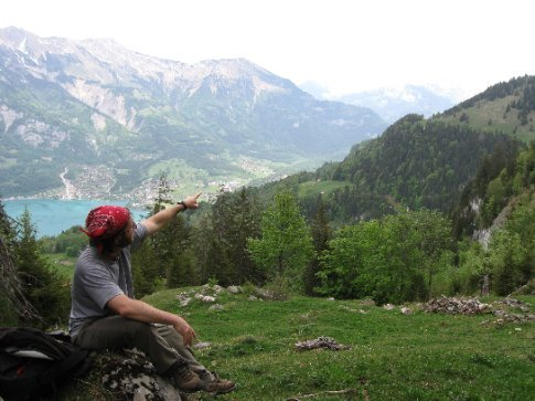 Ive points out view on a hike above Schweibenalp