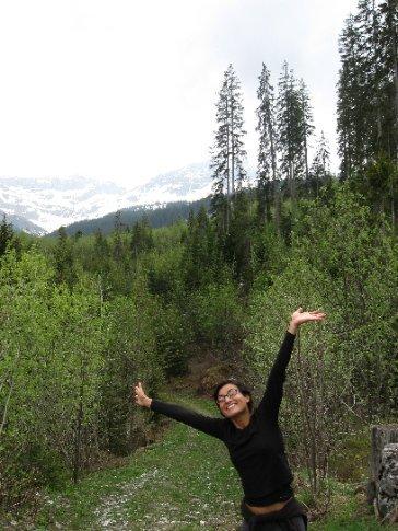 Mi's hiking pose