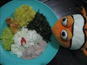 Tangelo & lunch: Matoki (plantain-like), crushed nuts, greens, rice and avocado: by ivan_miral, Views[891]