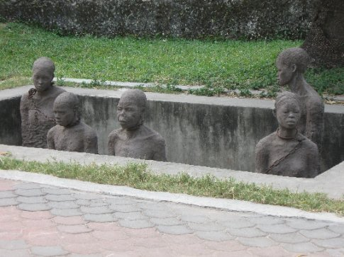 A memorial statue capturing the horror of the slave trade that thrived in Zanzibar for many decades.The statues are connected with original chains used to shackle humans.