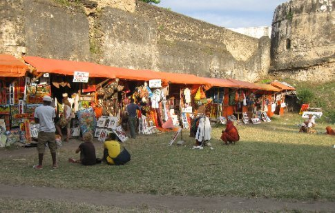 The old fort in Stone Town is now a bustling marker for African wares.