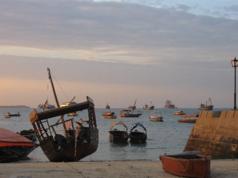 Some of the many ships in the harbor near Stone Town in