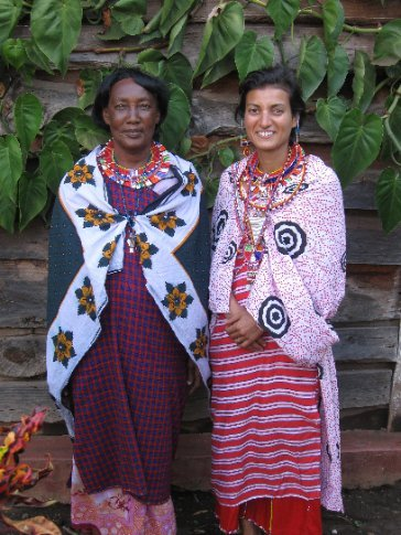 The women dressed Mi in traditional clothes; here, she poses with our host's mother, Sinoi.