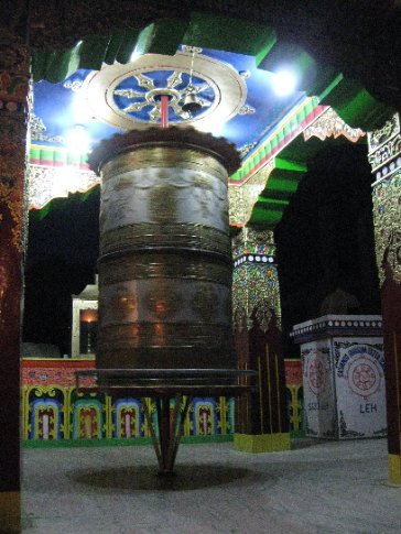 Even at night, prayer wheels are spun by passers-by to send wishes of well-being out to the world.