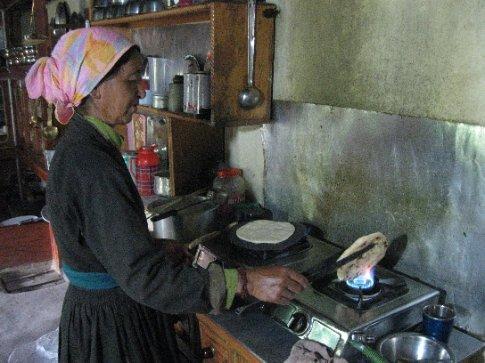 My Ama-le preparing traditional Ladakhi bread.