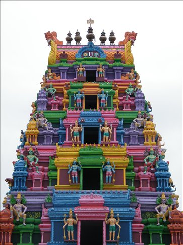 A colorfully candy-like Hindu temple in the holy city of Haridwar