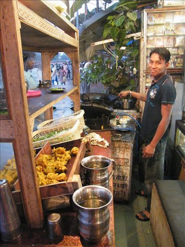 Making a quick pitstop for deep fried vegetable pakoras