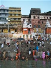 Varanasi is most famous for its bathing ghats (platforms leading to the river). Each morning, hundreds of Hindus come to pray, make offerings, and bathe in the sacred purifying waters.: by ivan_miral, Views[403]
