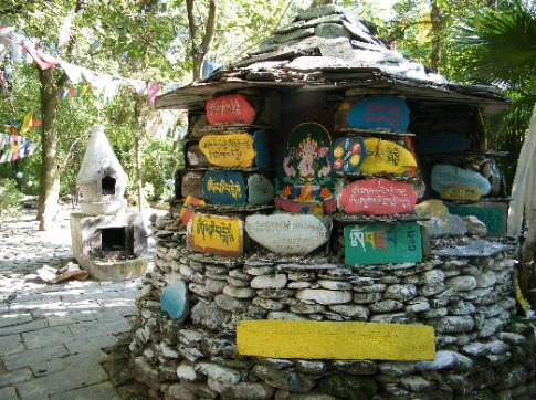 A Buddhist shrine on the incredible grounds of the Norbulingka Institute in Dharamsala.
