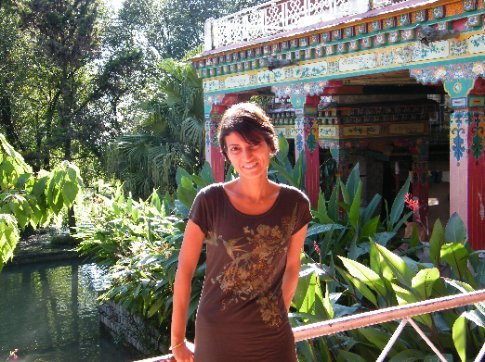Mi enjoying her recovery from chaotic Kolkata, basking in the peace of the Norbulingka Institute in Dharamsala.
