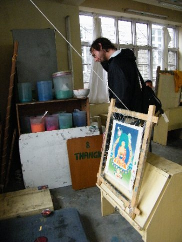 At Norbulingka Institute, Ive investigates the process of painting Thangkas -- sacred Tibetan Buddhist iconographic paintings.